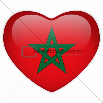 Morocco Flag Heart Glossy Button