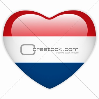 Netherlands Flag Heart Glossy Button
