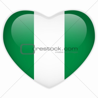 Nigeria Flag Heart Glossy Button