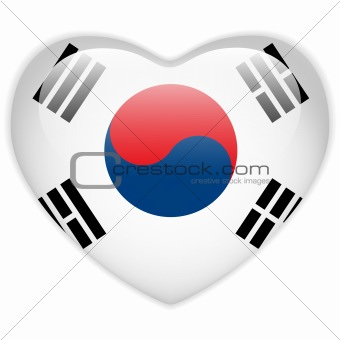 South Korea Flag Heart Glossy Button