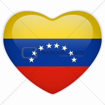 Venezuela Flag Heart Glossy Button