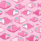 Red Fishes with Cyan Eyes Seamless Pattern. Vector Illustration of Marine Life