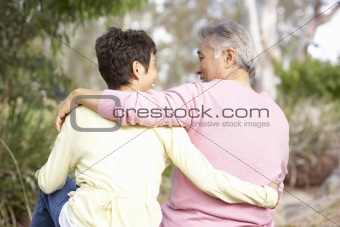 Back View Of Senior Couple In Park