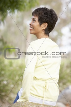 Back View Of Senior Woman Outdoors