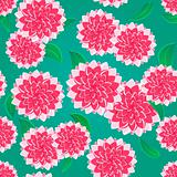 Bright Pink Flower Seamless Pattern on Green Background. Floral Illustration