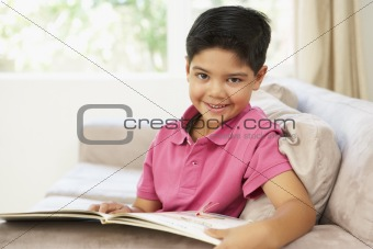 Young Boy Reading Book At Home