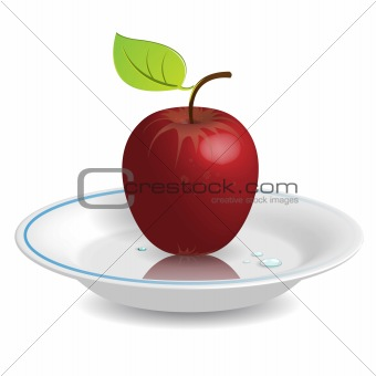 apple on saucer