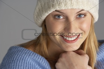 Portrait Of Pretty Young Woman Dressed For Winter