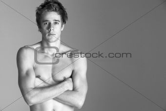 Portrait Of Semi Naked Young Man
