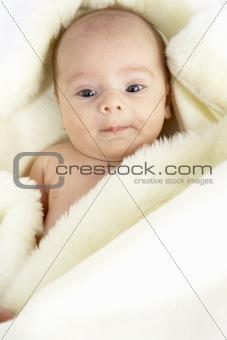 Portrait Of Baby Girl Wrapped In Sheepskin