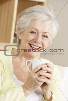 Senior Woman Enjoying Hot Drink
