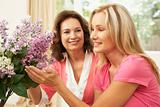 Senior Woman And Daughter At Home Arranging Flowers