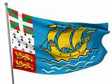 Saint Pierre and Miquelon National Flag  - All Countries Collection - Isolated Image