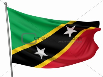 Saint Kitts and Nevis National Flag  - All Countries Collection - Isolated Image