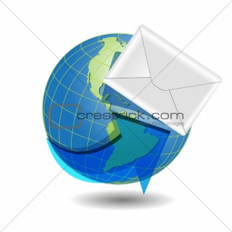 globe and white envelope