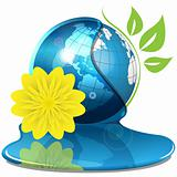 Globe And Yellow Flower