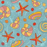 Hand drawn seamless beach pattern