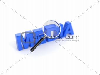 Media concept with magnifying glass