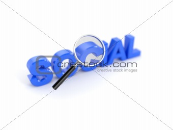 Social word with magnifying glass