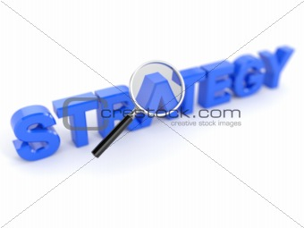 Strategy concept with magnifying glass