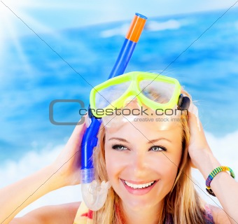 Cute teen girl having fun on the beach