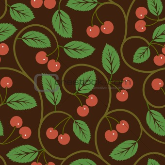 seamless vector pattern with red cherries background