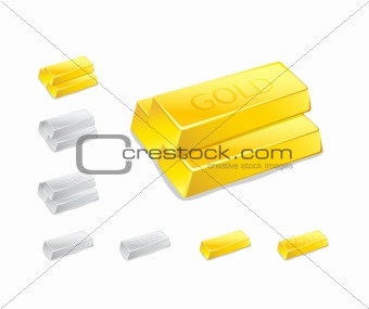 Gold and Silver Ingot Stack Icon Set Isolated on White Background. Vector Illustration