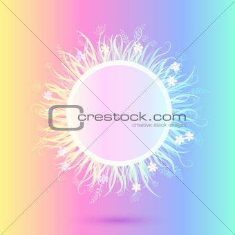Beautiful Light Colorful Round Frame. Vector Illustration of Grass in Circle Isolated on Motley Background