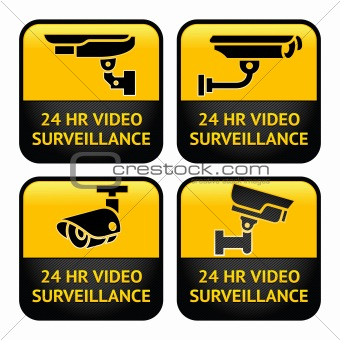 Security camera labels, video surveillance, set CCTV symbol