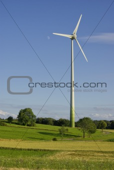 Wind power plant in rural environment