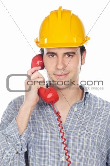 worker talking on the phone