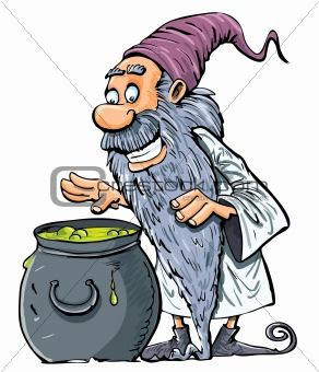 Cartoon Wizard with boiling cauldron.