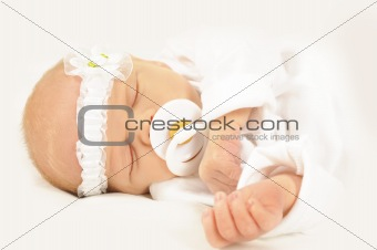 Adorable new born baby with head band