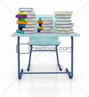 schooldesk with books