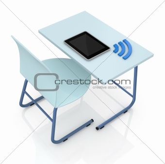 school desk with tablet