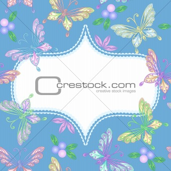 vector  floral lace frame with butterflies
