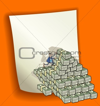 cartoon design with heap of money