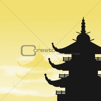 Asian Pagoda Silhouette at Dawn