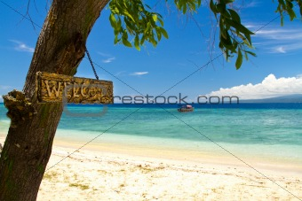 Welcome to paradise beach and sea on island, Gili Islands