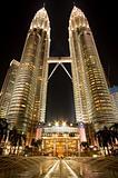 Petronas Twin Towers in Kuala Lumpur at night