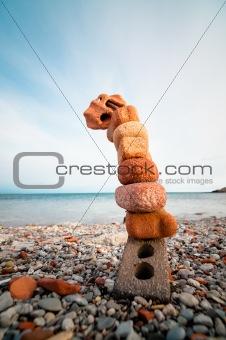 Bricks and Stones on a Beach