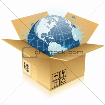 Cardboard Box with Earth