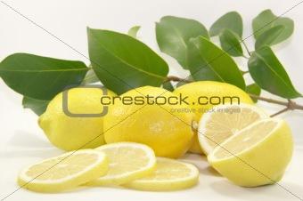 Sliced juicy lemon with leaves