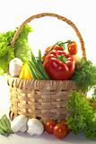Fresh colorful vegetables in the basket