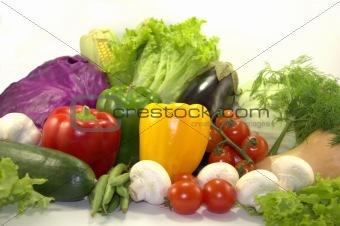 Bright vegetables on white background