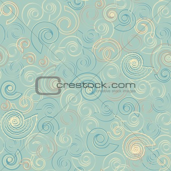Shells in the water seamless pattern