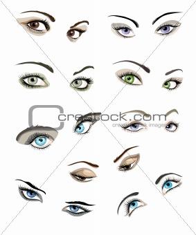 Woman's eyes set