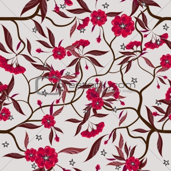 Red  flowers seamless