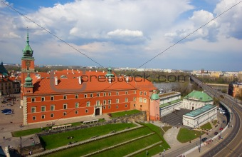old royal palace from above, Warsaw, Poland
