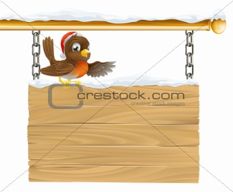 Christmas Santa hat bird on sign